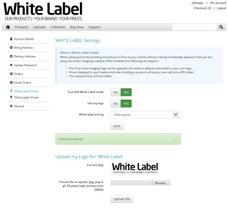 3. By uploading a logo, in this case we have added our 'White Label' branding, professionals can turn the OVI site into 'theirs'.