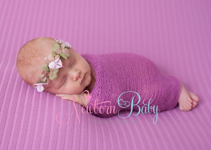 Newborn Baby Posing mid pink stripe backdrop FB