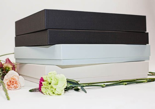Graphite grey, light duck egg and ivory presentation wedding album boxes